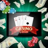 Vecteur en ligne d'affiche de casino Concept mobile moderne de Tablette Illustration de concept de la publicité de gros lot illustration de vecteur