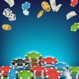 Vecteur en ligne d'affiche de casino Signe de casino de tisonnier Puces lumineuses, pièces de monnaie volantes du dollar, explosi illustration de vecteur