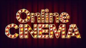 Vecteur en ligne d'affiche de cinéma r E Illustration moderne illustration de vecteur