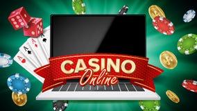 Vecteur en ligne de bannière de casino ordinateur portatif réaliste Signe de bannière de casino Puces d'explosion, jouant des mat illustration libre de droits