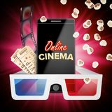 Vecteur en ligne de bannière de cinéma Téléphone intelligent réaliste Calibre pour la plaquette, matériel de promotion Fond en li illustration stock