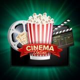 Vecteur en ligne de cinéma Bannière avec le comprimé Calibre de conception de l'avant-projet de cinéma Panneau d'affichage de cin illustration libre de droits