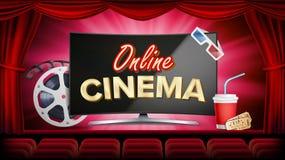 Vecteur en ligne de cinéma Bannière avec le moniteur d'ordinateur Rideau rouge Théâtre, 3D verres, cinématographie de film-bande  Image stock