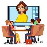 Vecteur en ligne de réunion visuelle Femme et causerie CEO et employés Réunion d'affaires, consultation, bureau de conférence illustration de vecteur