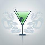vecteur en verre de descripteur de martini de fond Photographie stock libre de droits