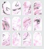 Vecteur Ensemble d'étiquettes avec les textures de marbre Photos stock