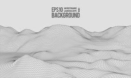 vecteur EPS10 grand-angulaire de terrain de 3D Wireframe illustration stock