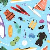 Vecteur extrême d'extrémité de récréation d'été d'activité d'océan de loisirs de navigation de surfer de canoë de sport aquatique illustration de vecteur