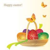Vecteur Félicitation aux vacances Panier décoratif et oeufs peints Photo stock