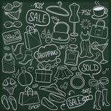 Vecteur fabriqué à la main de conception de DayTraditional de vente d'achats de griffonnage de croquis gratuit d'icônes illustration de vecteur