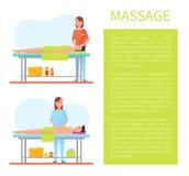Vecteur facial et abdominal d'affiche de massage de ventre illustration stock