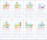 Vecteur facial et abdominal d'affiches de soin de massage illustration de vecteur