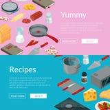 Vecteur faisant cuire l'illustration isométrique de bannières d'objets de nourriture illustration de vecteur
