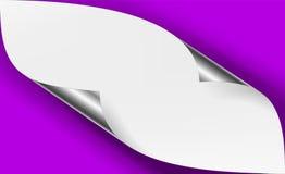 Vecteur faisant le coin métallique argenté courbé Livre blanc avec d'ombre de moquerie la fin  Photo libre de droits