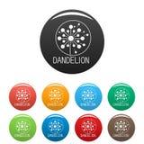 Vecteur fané de couleur réglé par icônes de logo de pissenlit Photo libre de droits