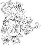 Vecteur fleuri de défilement de griffonnage peu précis Image stock