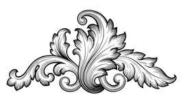 Vecteur floral baroque d'ornement de rouleau de vintage illustration libre de droits
