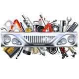 Vecteur Front Car Part avec des pièces de rechange de voiture Photographie stock