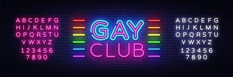 Vecteur gai d'enseigne au néon de club Enseigne au néon gai de calibre de conception de club, bannière légère, enseigne au néon,  illustration libre de droits