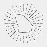 Vecteur Georgia Map Outline avec le rétro rayon de soleil Images libres de droits