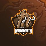 Vecteur gigantesque de conception de logo de mascotte d'éléphant avec le style moderne de concept d'illustration pour l'impressio illustration stock
