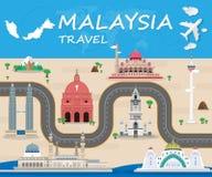 Vecteur global D d'Infographic de voyage et de voyage de point de repère de la Malaisie illustration de vecteur