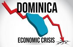 Vecteur global de fusion d'accident du march? d'effondrement de Dominica Map Financial Crisis Economic illustration libre de droits