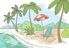 Vecteur graphique d'illustration de croquis de paysage de couleur de plage de côte Photo stock