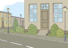 Vecteur graphique d'illustration de croquis de paysage de ville de couleur de route de rue illustration de vecteur