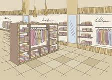 Vecteur graphique intérieur d'illustration de croquis de couleur de boutique Illustration Libre de Droits