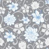 Vecteur Gray Sky Blue Swirl Florals sans couture Photo libre de droits