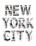 Vecteur grunge de graphique de T-shirt de New York City Photos libres de droits