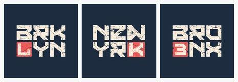 Vecteur grunge de style de T-shirt et d'habillement de Brooklyn Bronx New York illustration libre de droits