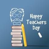 Vecteur heureux de Day de professeur Illustration avec des livres et des verres, craie, panneau, d'isolement Image stock
