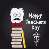 Vecteur heureux de Day de professeur Illustration avec des livres et des verres, craie, panneau, d'isolement illustration libre de droits