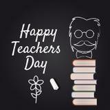 Vecteur heureux de Day de professeur Illustration avec des livres et des verres, craie, panneau, d'isolement Photos libres de droits