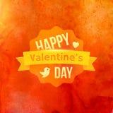 Vecteur heureux de typographie de jour de valentines d'aquarelle Photos stock