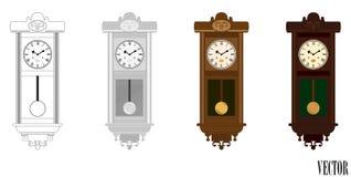 Vecteur : Horloge en bois de mur de pendule dans des variations de couleur (couleur) Photo stock