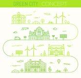 Vecteur ilinear infographic de style d'eco vert de ville illustration de vecteur