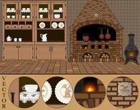 Vecteur Illustration d'une vieille cuisine (néerlandaise) traditionnelle Photo libre de droits