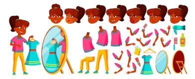 Vecteur indien d'enfant de fille Enfant de lycée Ensemble de création d'animation Émotions de visage, gestes pupille Université,  illustration libre de droits