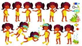 Vecteur indien d'enfant de jardin d'enfants de fille indou Nageur, plongeur Profondeur d'océan, sous l'eau déshabillé Petits enfa illustration libre de droits