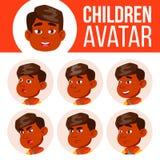 Vecteur indien d'enfant d'ensemble d'avatar de garçon kindergarten Faites face aux émotions Portrait, utilisateur, enfant Junior, illustration libre de droits