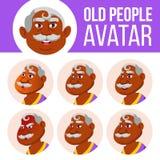 Vecteur indien d'ensemble d'avatar de vieil homme Faites face aux émotions indou Asiatique Person Portrait supérieur Les personne illustration libre de droits
