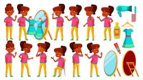 Vecteur indien d'ensemble de fille Enfant Étude d'enfants La connaissance, apprennent, leçon Pour la présentation, copie, concept illustration libre de droits