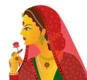 Vecteur indien de mariée d'isolement Images stock