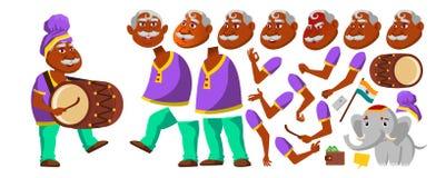 Vecteur indien de vieil homme indou Asiatique E Les personnes âgées âgé Création d'animation illustration libre de droits
