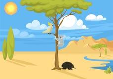 Vecteur indigène australien de forêt de fond d'Australie de paysage d'animaux de bande dessinée de style plat populaire sauvage d illustration stock