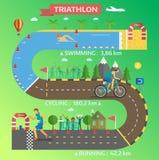 Vecteur infographic de course de triathlon Photos stock
