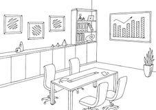 Vecteur intérieur blanc noir graphique d'illustration de croquis de lieu de réunion de bureau illustration stock